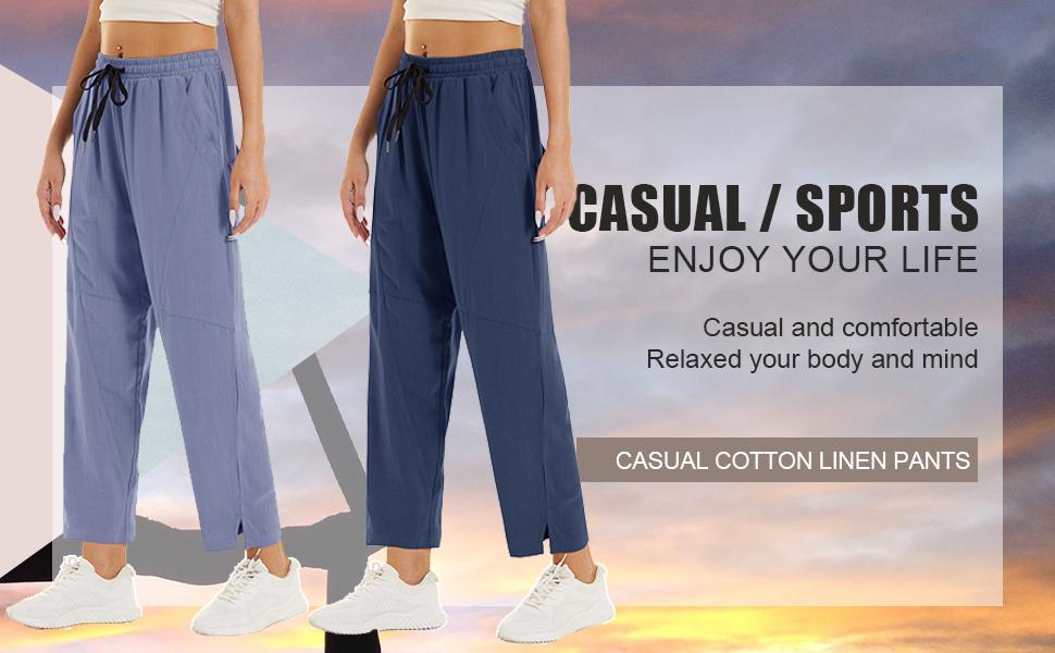 Women's Cotton Linen Pants Jogger Yoga Casual Pants Drawstring Lightweight Open Bottom Spring Fall