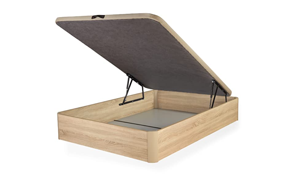 DHOME Canape Abatible Tapizado 3D 4 válvulas Maxima Calidad Esquinas canapé Madera (135x190 Roble, 22mm): Amazon.es: Hogar