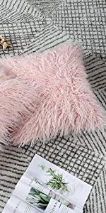 Long Shaggy Faux Fur Throw Pillow Covers