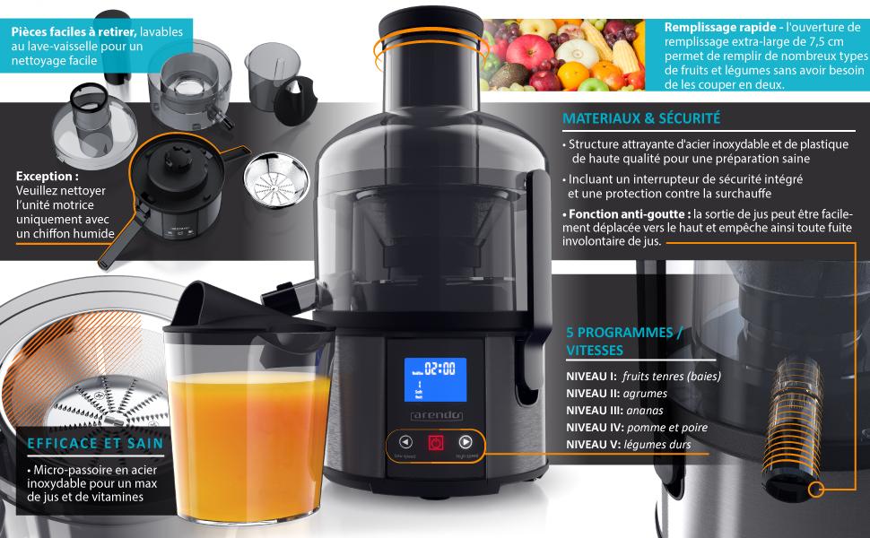 303896  Arendo - Extracteur de jus électrique, presse-agrumes fruits et légumes