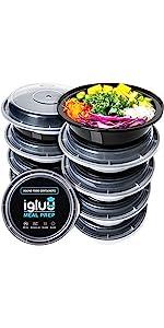 Compartiments circulaires ronds Igluu conteneurs de préparation de repas plateaux sectionnés bacs
