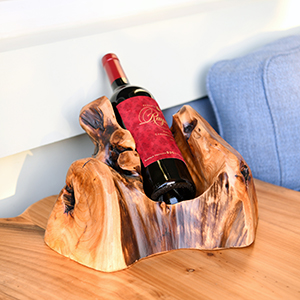 WELLAND Tree Stump Wine Rack, 1-Bottle Rustic Cedar Wood Tabletop Wine Bottle Holder