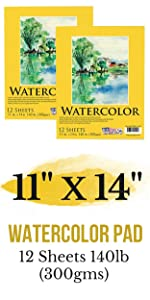 """24-Sheets 190gsm 9/"""" x 12/"""" Heavy-Weight Watercolor Painting Paper Pad 90lb"""