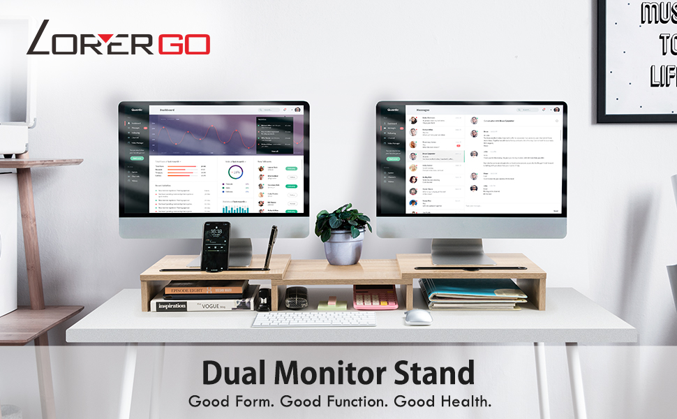 LORYERGO Dual Monitor Stand Riser with Storage Slot