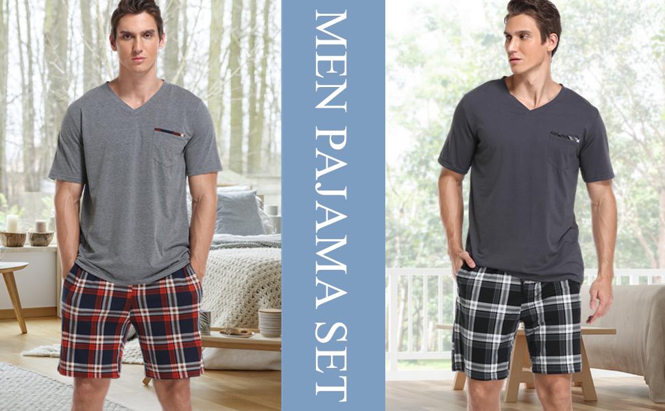 Vlazom Mens Pajama Sets Short Sleeve Top and Striped Pants for Loungewear Sleepwear