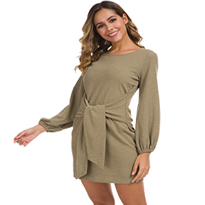 Women's Loose Casual Front Tie Short Sleeve Bandage Party Dress