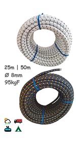 Cuerda Elastica 8mm. Monotex Polietileno. Piscinas
