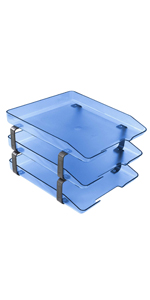 acrimet traditional letter tray 3 tier front load clear blue color