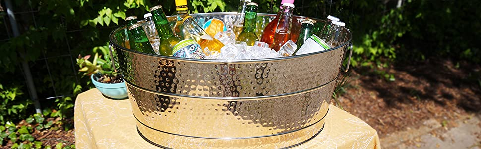 Stainless, steel, aspen, beverage, tub, ice, bucket, party, beer, wine, hammered, large, 25qt, patio
