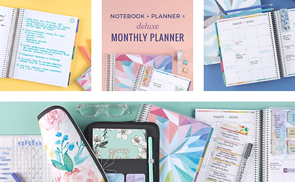 Erin Condren 12-Month 2019-2020 Deluxe Monthly Planner 7x9 (July 2019-June 2020) - Kaleidoscope Neutral, Colorful Layout