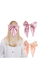 2Pcs Large Hair Bow Barrettes with Rhinestone Pearls
