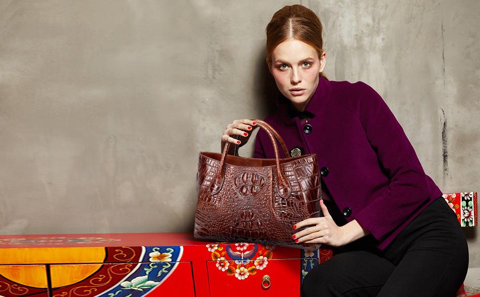 Women Crcodile Leather Handbag