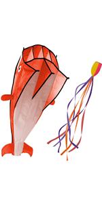 3D Kite Large Orange Dolphin