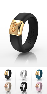 Black amp; Gold RinFit Silicone Rings Women