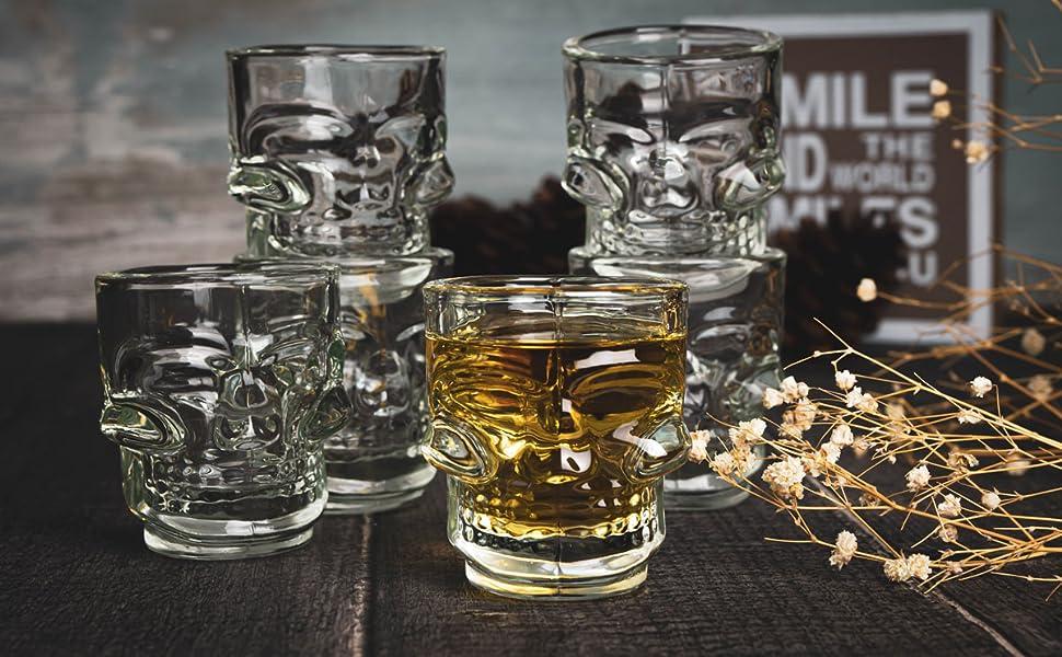 6 Schnapsgläser Totenkopf Shotgläser Schädel Schnaps Shots Stamper Vodkagläser