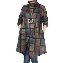 Minibee Women's Checked Plaid Tunic Winter Asymmetry Hem Tops Turtleneck Shirt Dress with Pockets …