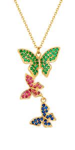 Tre Colorato Farfalle Collana