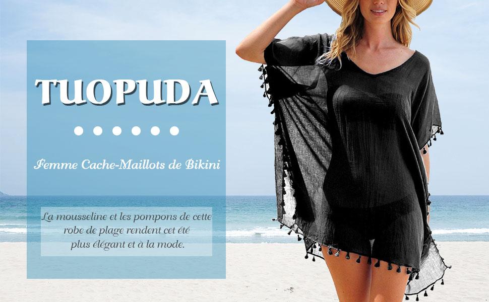 Tuopuda Robe de Plage Femme Couleur Unie Bikini Couvrir Col V en Mousseline Maillot de Bain Gland Mode de Tops Beachwear