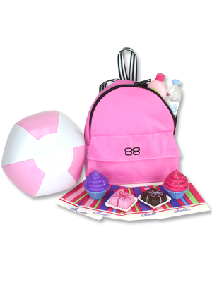 doll backpack, beach ball, cupcakes, doll accessories