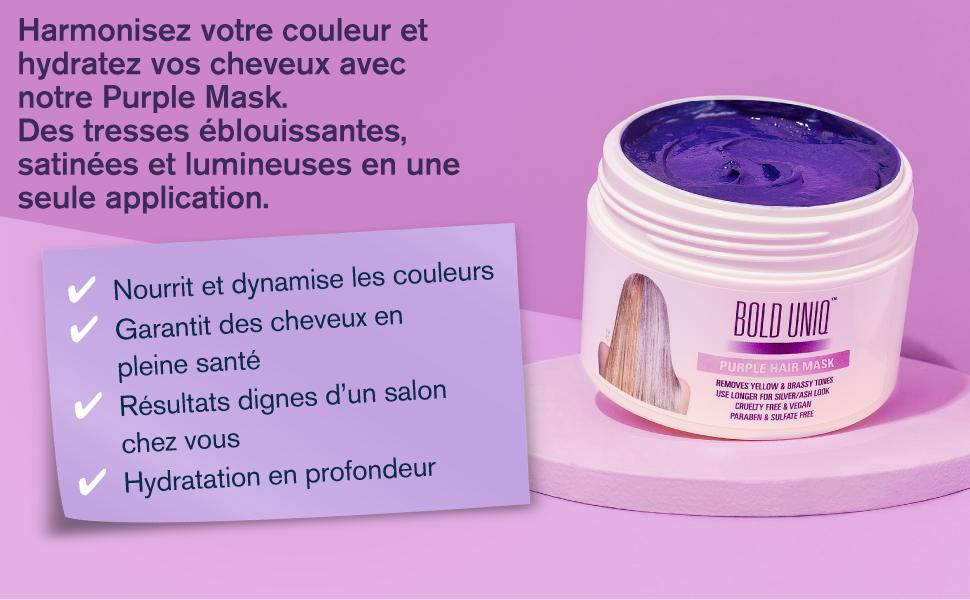 Purple Mask Masque Capillaire Violet Soin Professionnel pour Cheveux Blonds et Gris silver finish