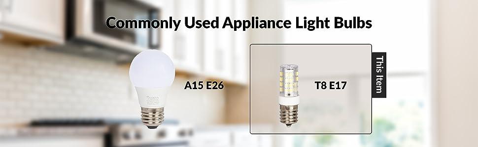 commonly used appliance light bulbs a15 e26 t8 e17