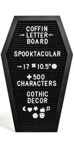17x10.5 Inches and Storage Pouch Sawtooth Hanger Table Top Stand Coffin Letter Board Purple Felt Spooky Gothic Decor Message Board for Home Includes 500 White and Black Changeable Characters