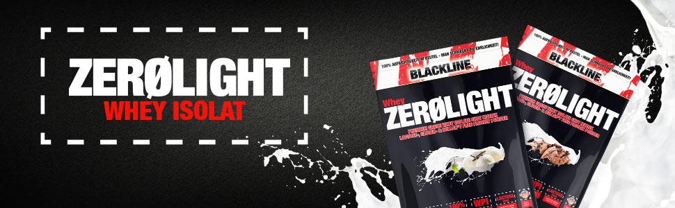 Zerolight Whey Isolat Schwarzer hintergrund mit 1 Packung vanille icecream 1 packung schoko sahne