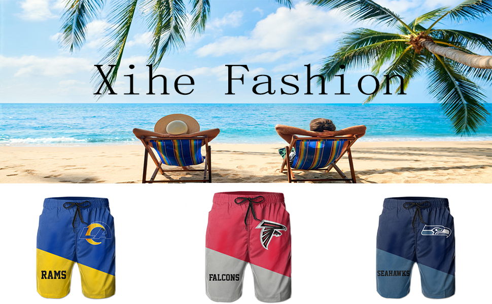 Xihe Fashion Mens Customized Logo Graphic Swim Trunks Beach Party Game Gifts Sports Swimming Shorts