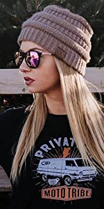 solid ribbed beanie