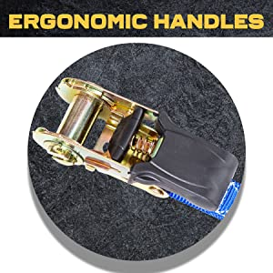 ratchet straps, ergonomic handles