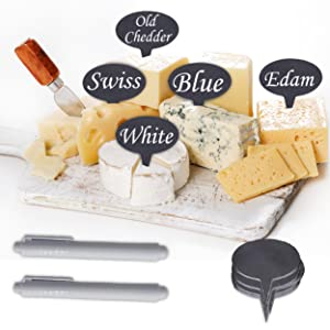 10 Natural Slate Cheese Labels amp; 4 Soapstone Chalks, Cheese Name Tags Set for Parties and Dinners