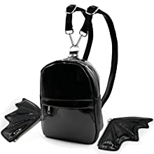 Women mini backpack detachable wing front and inside pocket purse bag black patent Amazon A+
