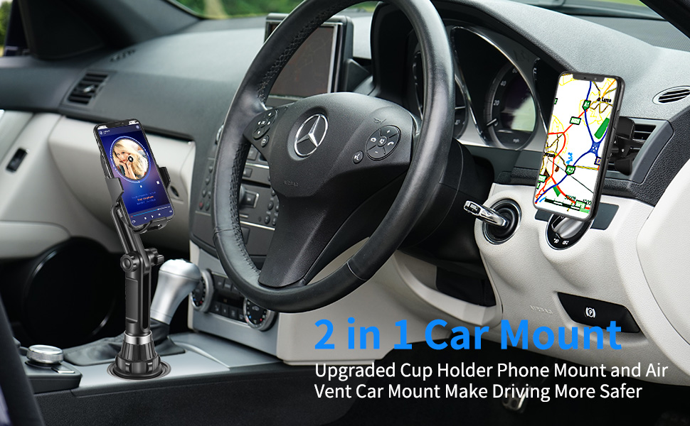 Huawei LG Nokia Moto Samsung Miracase 2-in-1 Universal Cell Phone Holder Cup Holder Phone Mount Car Air Vent Holder for iPhone 15W Wireless Car Charger Cup Holder Smartphones