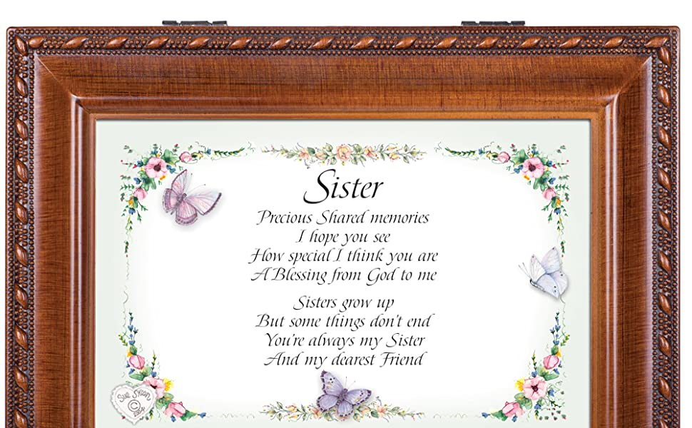 Cottage Garden Sister Woodgrain Music Box Plays Friends Are For