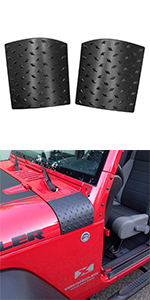 Pair XBEEK Cowl Body Armor Outer Cowling Cover Corner Guards for 2007-2018 Jeep Wrangler JK JKU Unlimited Rubicon Sahara Sport Exterior Accessories Textured Black
