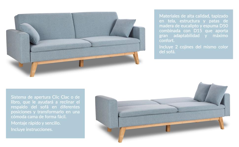 Don Descanso, Sofá Cama 3 plazas Reine, Tapizado en Tela, Color Azul Celeste, Sistema Apertura de Libro o Clic-clac, Medida sofá: 206x74x83 cm, Medida ...
