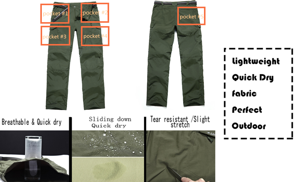 Mens Hiking Pants Quick Dry Lightweight Fishing Camping UPF 50+ Cargo Pants with Pockets