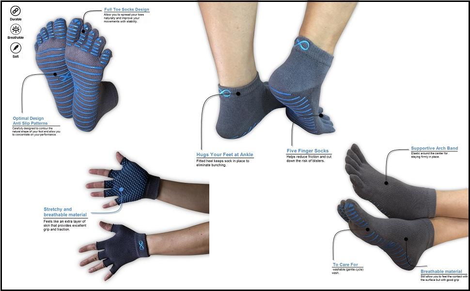 yogaaddict yoga socks and gloves set sock glove grip pilates