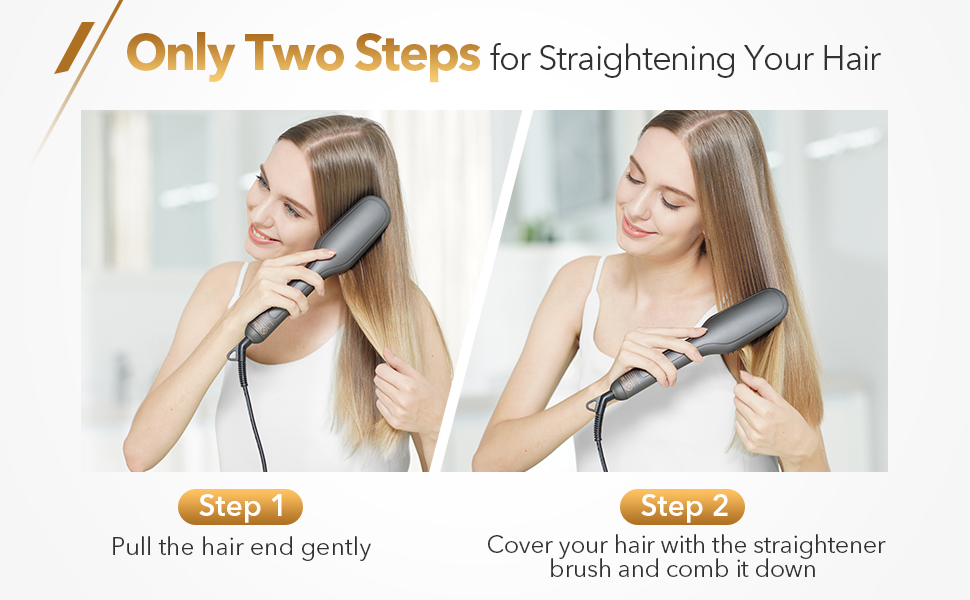two steps for straightening your hair