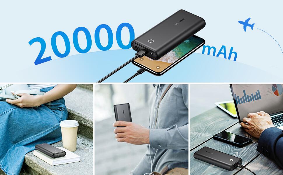 comprar POWERADD EnergyCell Batería Externa Power Bank 20000mAh Cargador Móvil Portátil con 2 Salida USB para iPhone 11, iPad, AirPods, Samsung, Huawei, Xiaomi Redmi Note 7 y más-Negro