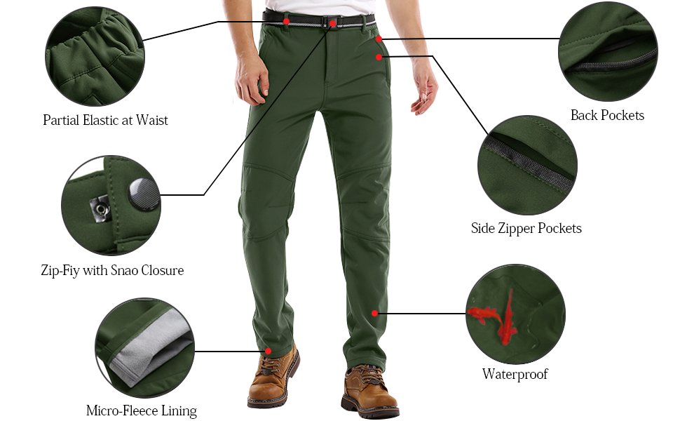 Fleece Lined Waterproof Windproof Ski Hiking Mountain Bottoms Softshell Insulated Trousers Mens Snow Pants