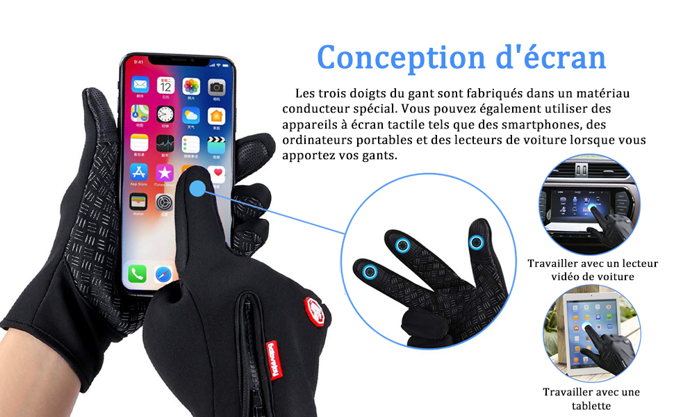 Smartphone Hiver Gants avec glissière pour écran tactile téléphone portable iPhone iPad