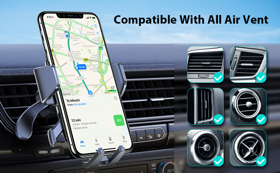 auto clamp ultra stable car phone holder phone holder for car vent air vent phone car holder iphone