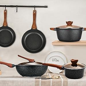 Cookware set pans and pots set