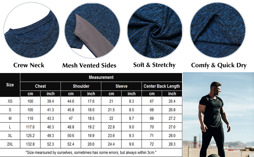 mens dri fit workout gym t shirt short sleeve muscle shirt quick dry t shirt fitted shirt for men