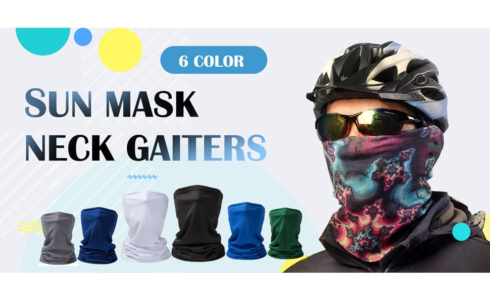 TOPEREUR Face Mask Neck Gaiter Sun UV Protection Fishing Mask Ear Mounted Balaclava Ear Mounted Riding-Mask Breathable Bandana Neck Tube for Cycling Hiking Motorbikes Running