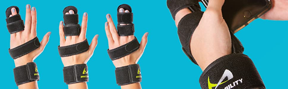 works for pinky, ring, middle, and index finger immobilization. Does not work for thumb bracing