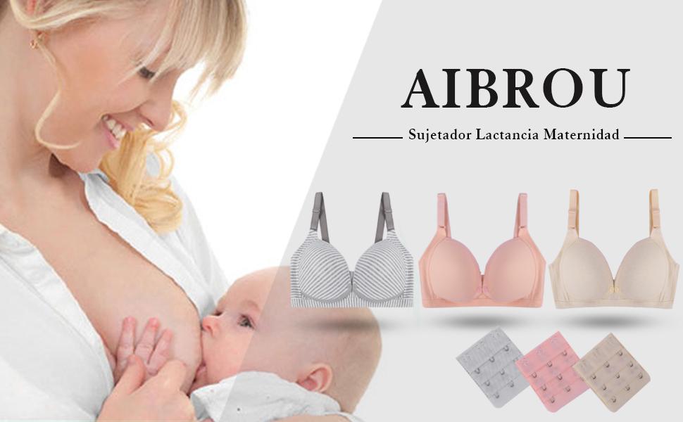Aibrou Sujetador Lactancia Maternidad Sostenes de Lactancia Algod/ón Sujetadores Premam/á y de Lactancia Sin Aros