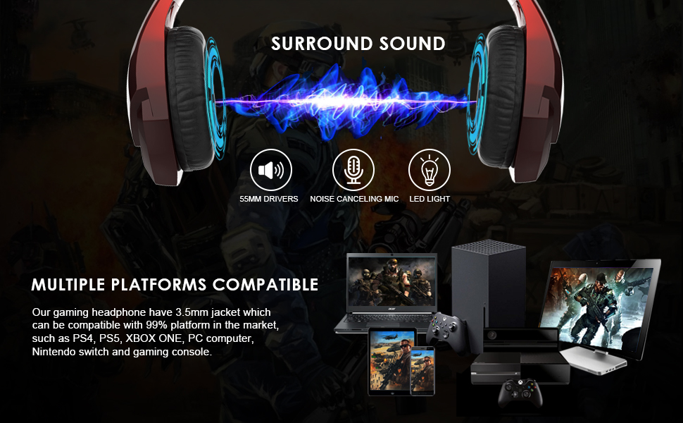 INHANDA GAMING HEADSET FOR XBOX ONE PS5 PC MAC LAPTOP SWITCH