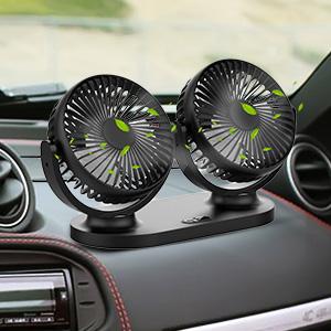 Qisiewell Ventilador de coche con 3 velocidades doble ventilador rango de rotaci/ón de 360/°
